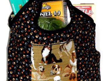 Grocery Tote Folding with Dog Print, Market Bag