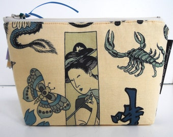 Cosmetic pouch / Zen Tattooed Zippered Make Up Bag / Coin Bag / Storage Bag / Cell Phone Bag