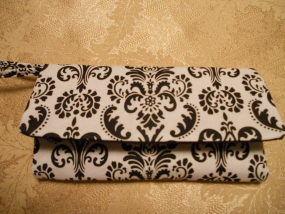 Wallet / Wristlet / Cell Phone / Check Book / Black & White Damask