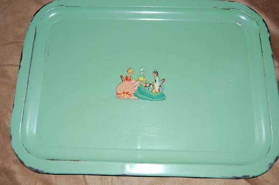 Vintage Tin Kitchen Decor Mint Green Decopauged Serving Tray