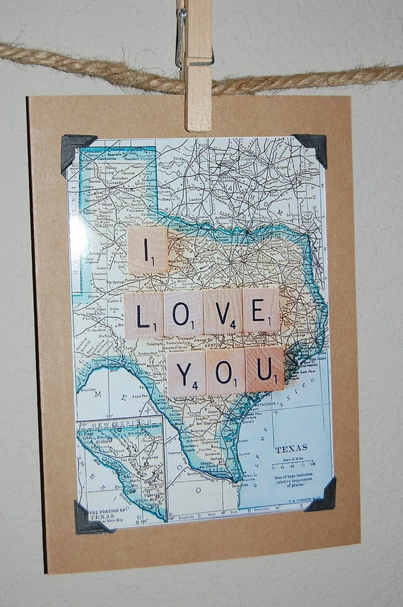 Vintage style vintage Texas map blank card with scrabble tile I love you