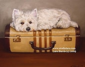 5x7 Westie on Vintage Suitcase West Highland Terrier Dog Fine Art Giclee Print by LARA
