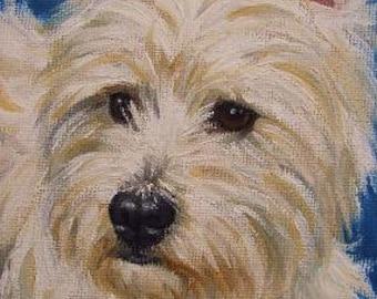 5x7 Westie West Highland Terrier Dog Fine Art Giclee Print by LARA