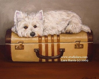 5x7 Westie on Vintage Suitcase West Highland Terrier Dog Fine Art Giclee Print by LARA