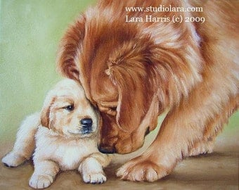 5x7 Golden Retriever and Puppy Fine Art Giclee Print by LARA