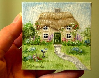 CUSTOM Thatched Roof Cottage with Bird Bath Painting in Oil by LARA aceo 3x3 Mini Tiny House
