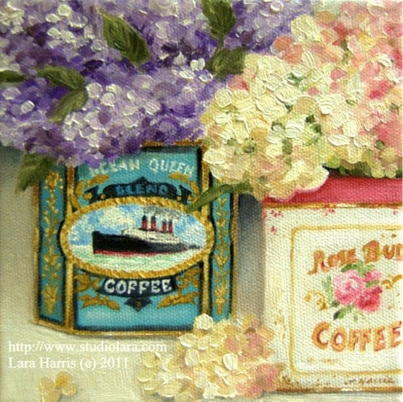 CUSTOM Tea Tins with Hydrangea and Lilacs Painting in OIL by LARA 8x10