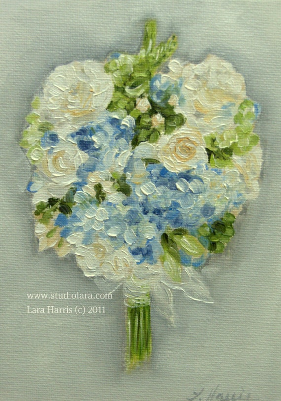 Hydrangea and Roses Wedding Bouquet Painting in OIL by LARA 5x7