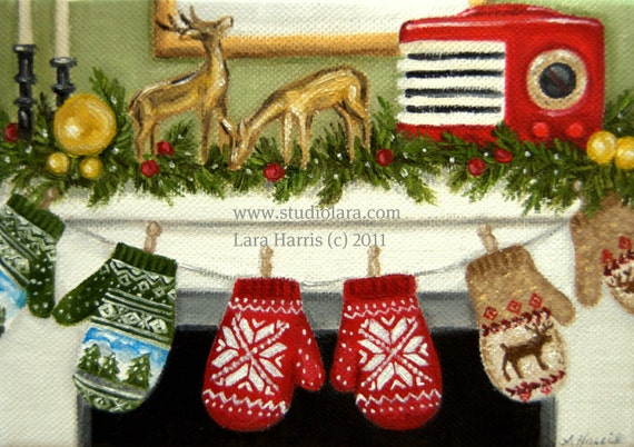 Christmas Mittens ORIGINAL Painting in Oil by Lara