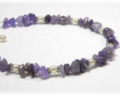 Amethyst Gemstone Anklet with Pearls Adjustable Ankle Bracelet - alovelycreation