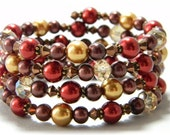 Red and Gold Pearl Cuff Bracelet with Chocolate Brown and Czech Beads Fall Bracelet