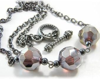 Black Amethyst Necklace Firepolished Czech Glass Beads