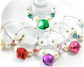 Christmas Wine Charms, Holiday Wine Charms, Crystal Wine Charms Hostess Gift set of 6