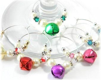 Christmas Wine Charms, Holiday Wine Charms, Crystal Wine Charms Hostess Gift set of 6