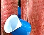 HOT STUFF  Enamelware Dipper / Antique / Blue / Measure / Server / Made In Hong Kong / 2/3 Cup