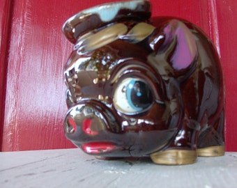 Antique Red Ware Piggy Bank / Art Pottery / Vintage / Large Size /