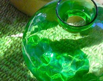 Midcentury Glass Decanter /Green Glass / Thumbprint Glass / Blown Glass /Collectible/Folk Art/Art Glass