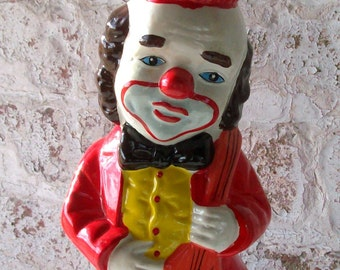 CLEARANCE Vintage Clown Coin Bank / 1960's/70's Chalk-Ware / Figural / Colorful CircusClown