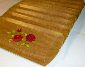 Lot Vintage 50's Buffet Trays / Set of 10 / CocktailTrays / Hasko Brand/ Mid Century Serve-ware/ Party Supplies/Faux Bois/Red Rose