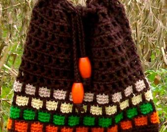 Vintage Satchel / Crocheted Purse / Vintage 70's /Hand Made / Drawstring Satchel / BoHo Handbag