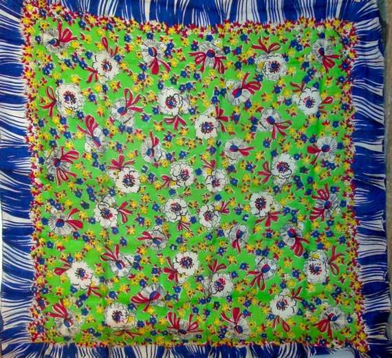 Vintage Scarf/ Silk Scarf / Floral Print / 50's / Green Blue Red / Large Size /Colorful Happy Print