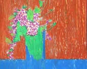 Lilacs On a Blue Table, original drawing