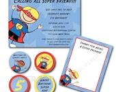Super hero birthday party set (custom), printable