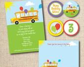 Tumble Bus / Fun Bus birthday party invitation (custom), printable file