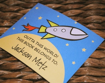 Spaceship Personalized Bookplates, Set of 10