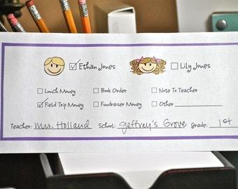 School money envelopes, personalized, set of 20