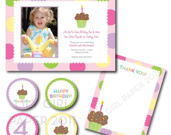 Cupcake Photo Birthday Set, printable