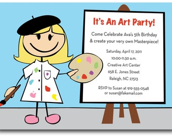 Artist birthday party invitation (custom), printable