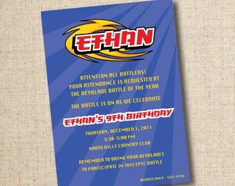Beyblade birthday party invitation (custom), DIGITAL OR PRINTED