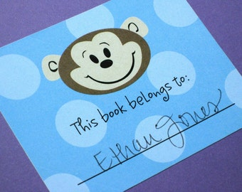 Adorable Monkey Bookplates, Set of 10
