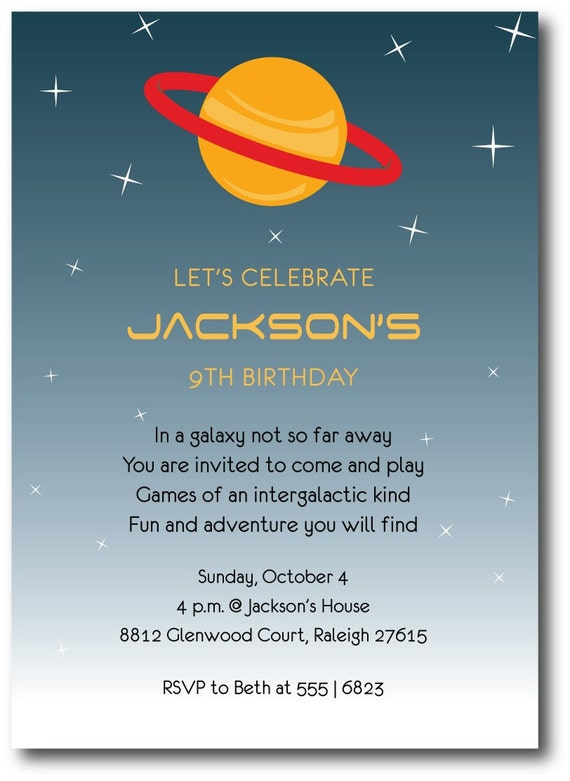 Outer space birthday party invitation custom printable – Space Party Invitation