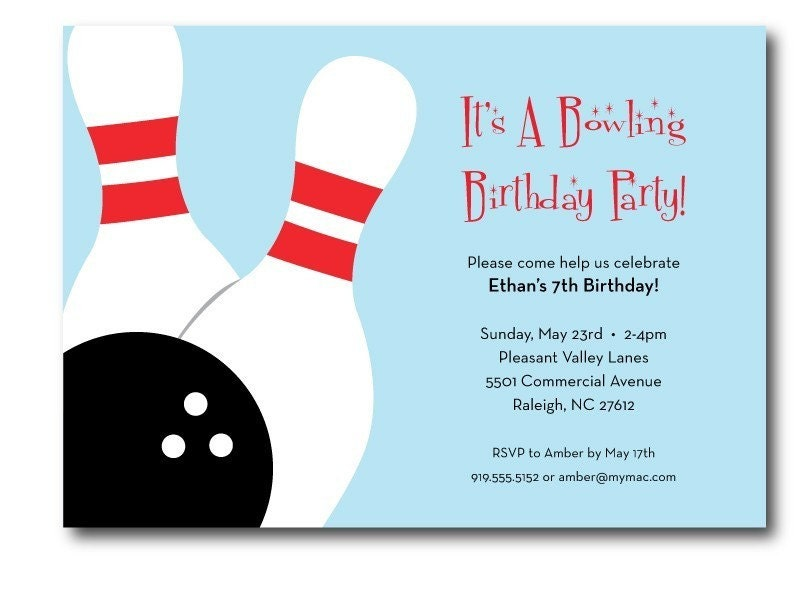 Bowling Birthday Party Invitation Printable