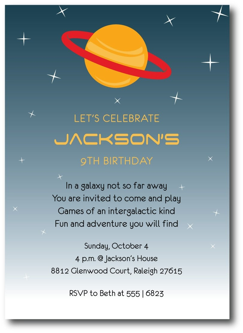 outer space birthday party invitation custom printable
