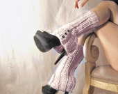 Faux Boot Legwarmers in Victorian CREAM with Spat Style Buttons - Free US Shipping