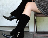 Leg Warmers Black Faux Boot with Spat Style Buttons - READY TO SHIP