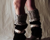 Legwarmers Cream Black Gray and Charcoal Stripe - Mega High Over the Knee