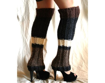 Mega High striped leg warmers