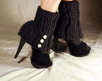 SALE - Leg Warmer Charcoal Semi Flare Style with Spat Style Buttons - Ready to Ship