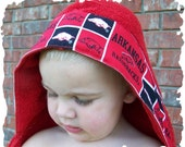 Personalized red  Razorback hooded towel