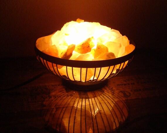 Himalayan Salt Lamps Dark : Himalayan Salt Lamp Basket Small Black Round by CherryCreekNV