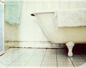 Bathtub - Romantic antique white bath on feet, home spa, fine art print for home decor
