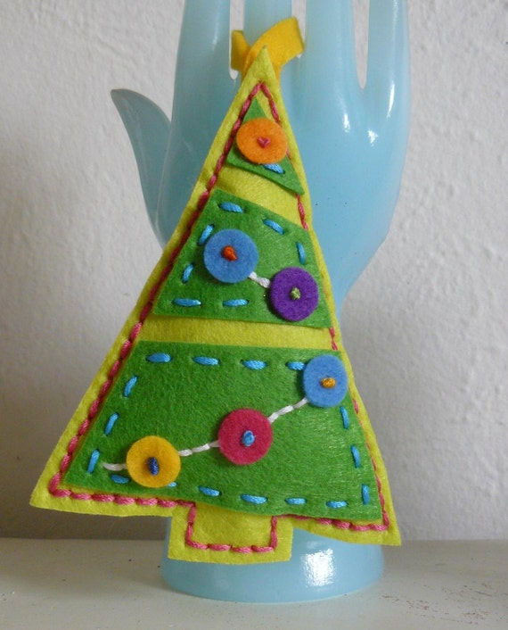 Button Christmas Trees: Items Similar To Hand Stitched Bright Buttons Christmas