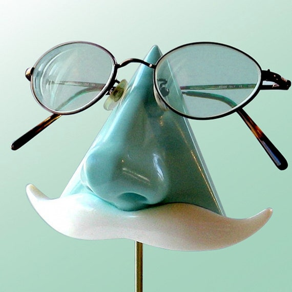 Mint Green Nose Eyeglass Stand, Key Caddy White Mustache, Geeky Nerd Book Lover Gift