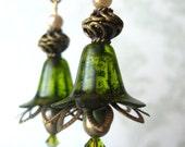 Olive Green Flower Earrings in Antique Gold