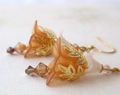 Earrings Caramel and Peach Lucite Flower Earrings with Crystals in Gold