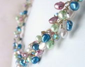 SALE Pastel Pearl and Crystal Necklace on Silver Wire, Spring Colors, Wire Wrapped, Beaded, Handmade